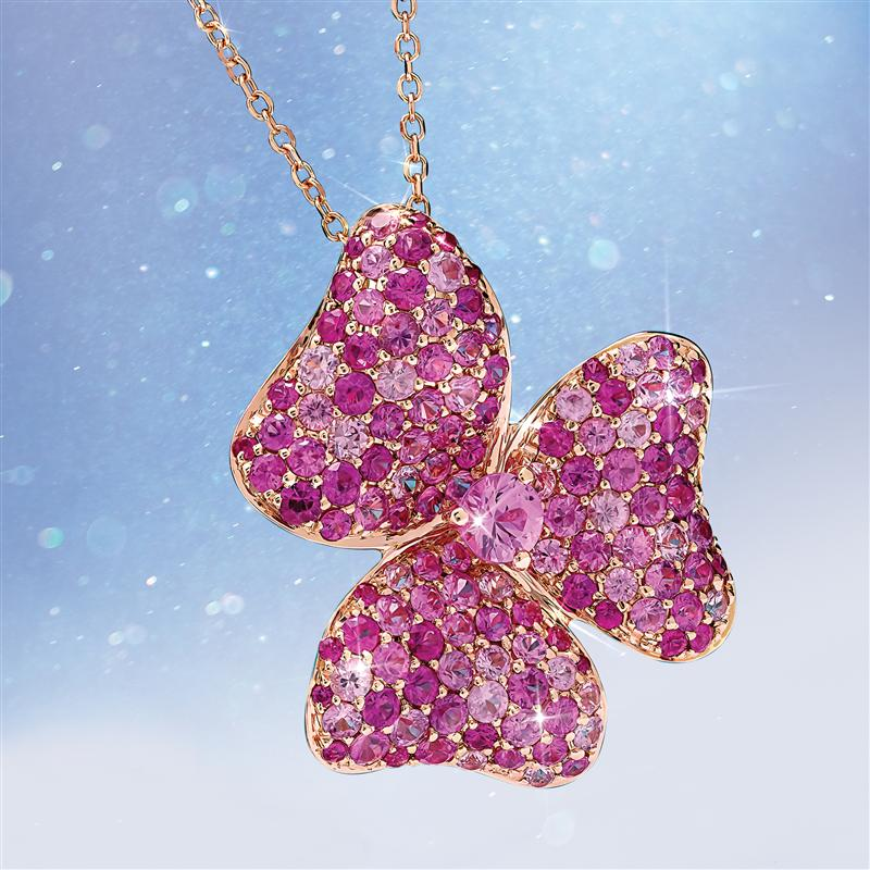 14K Rose Gold  Pink Sapphire Necklace