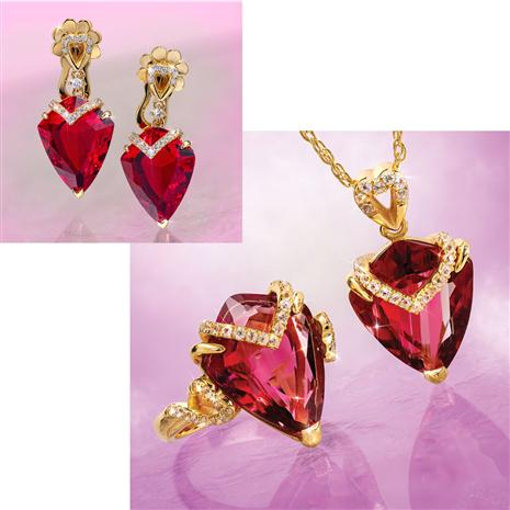 Fancy Cut Red Helenite & Diamond Collection