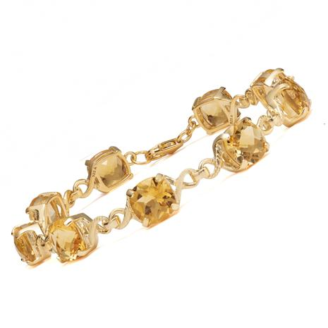 Gold-Finished Sterling Silver Citrine Bracelet