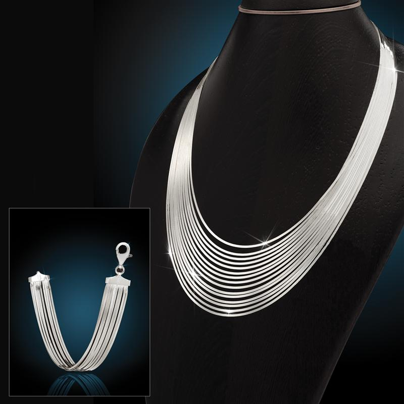Sterling Silver Cascata Necklace & Bracelet