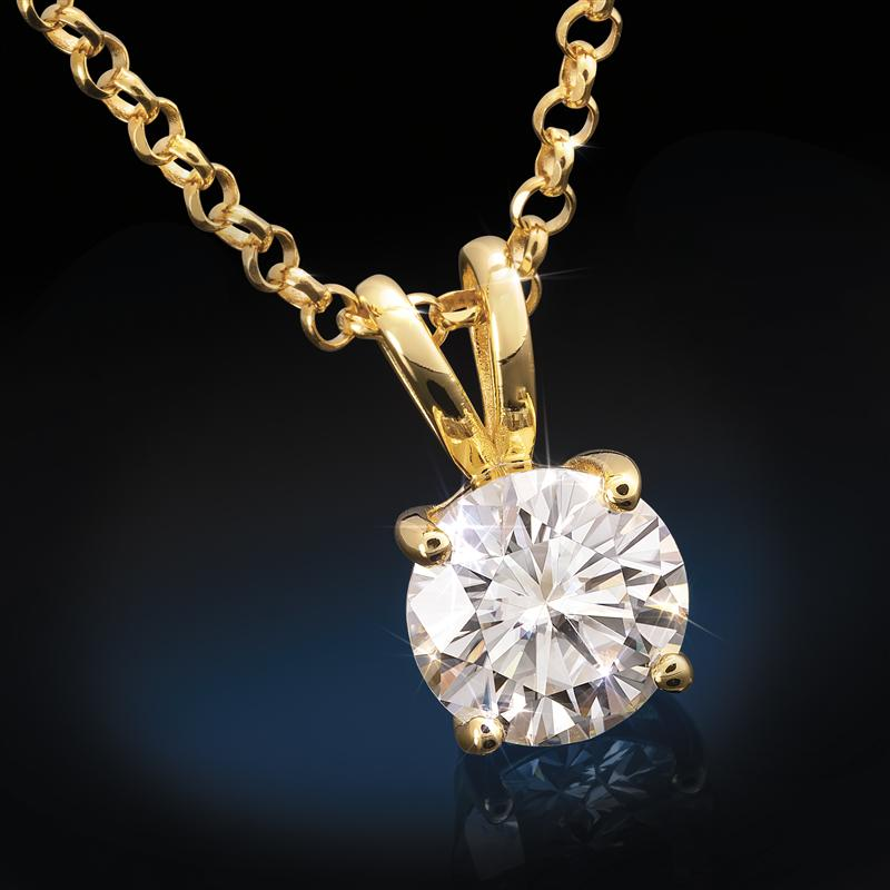 Yellow Gold-Finished Sterling Silver Moissanite Solitaire Pendant (2 carat)