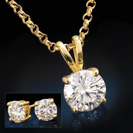 YG-Finished Sterling Silver Moissanite Pendant, Chain & Earrings