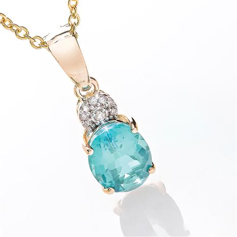 14K Yellow Gold Apatite and Diamond Necklace