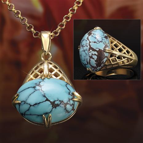 Arizona Turquoise Story Stone Ring, Pendant and Chain