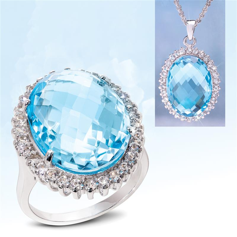 Heavenly Blue Topaz Ring, Pendant and Chain