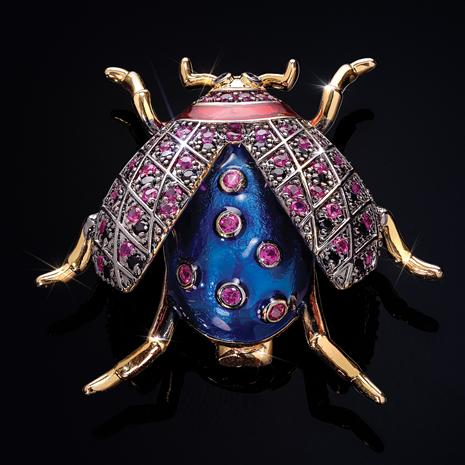 Wonderful Wings Shell Pearl Beetle Brooch