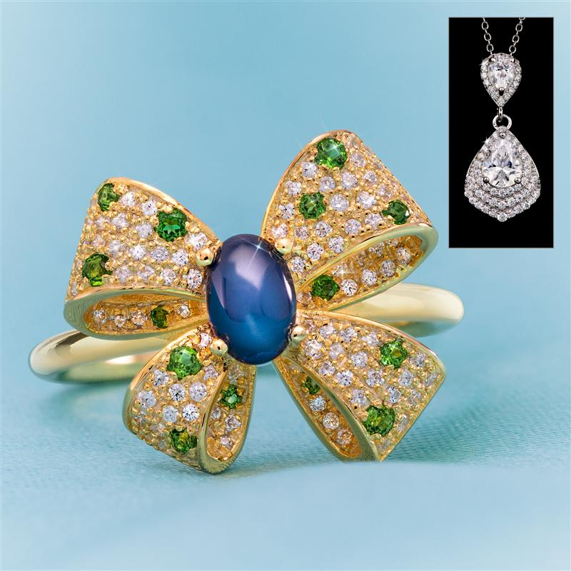 Ribbon Bow Ring with Teardrop Pendant