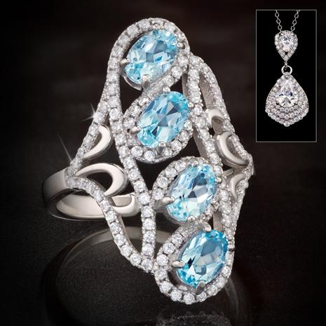 Blue Topaz Indulgence Ring with Teardrop Pendant