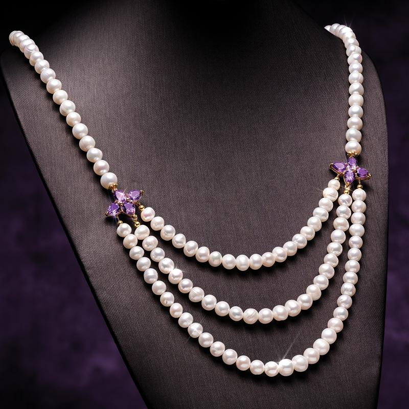 Cultured Freshwater Pearl and Amethyst Necklace