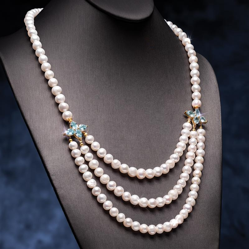 Cultured Freshwater Pearl and Blue Topaz Necklace