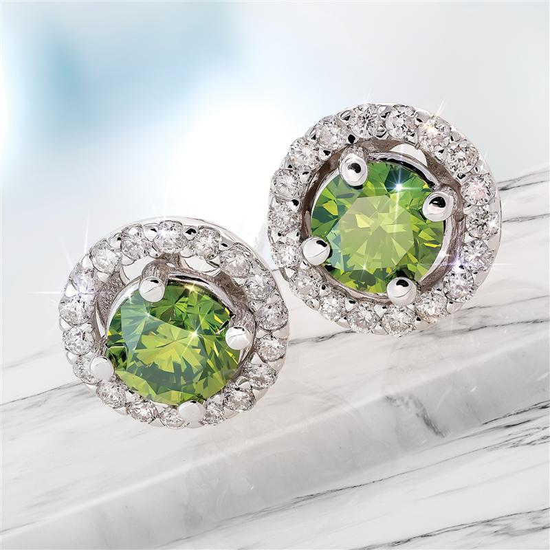 14K White Gold Fancy Green and White Diamond Earrings