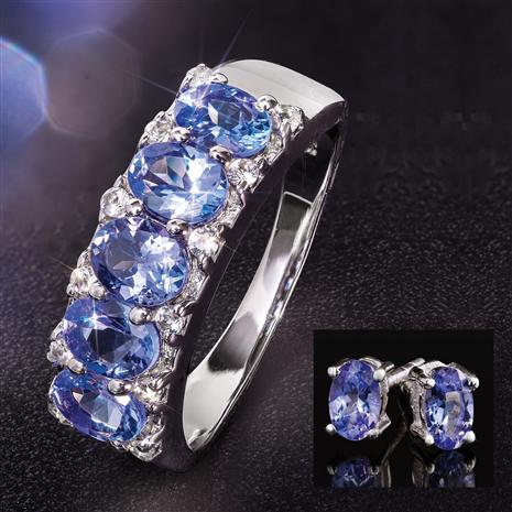 Tanzanite 5-Stone Rarity Ring and Tanzanite Studs