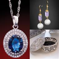 Windsor Necklace, Status Earrings & Bejeweled Jewelry Box