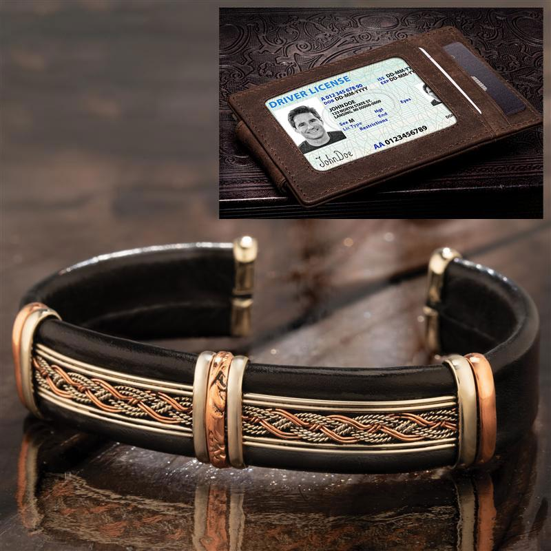 Men's PowerCore Leather Bracelet plus FREE Money Clip