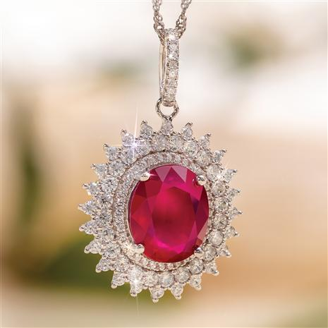 Ruby Red Alert Pendant and Chain