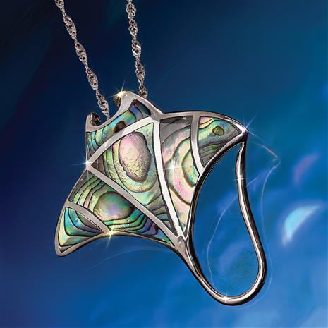 Stingray Abalone Pendant & Chain