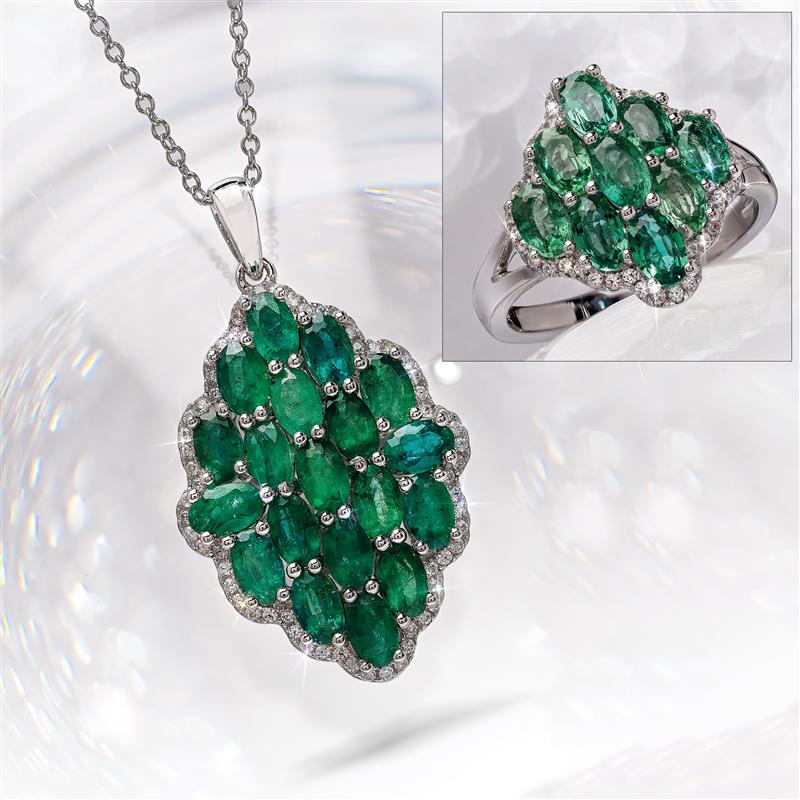 Zambian Emerald Necklace and Ring Set