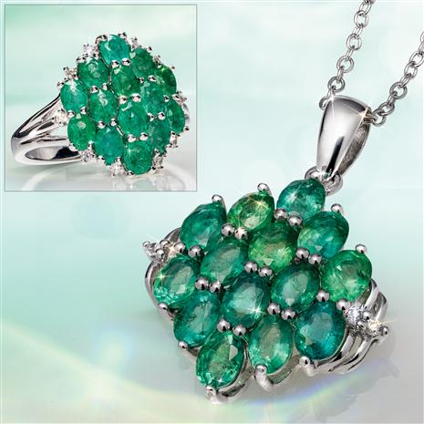 Zambian Emerald Necklace and Ring