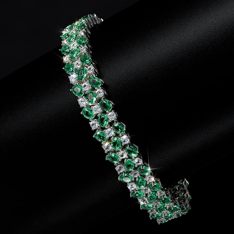 Green Helenite and White Topaz in gold-finished sterling silver