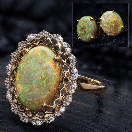 Arizona Desert Cultured Opal Ring & Earrings