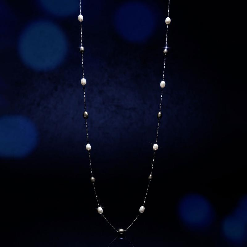 Black & White Pearl Station Necklace