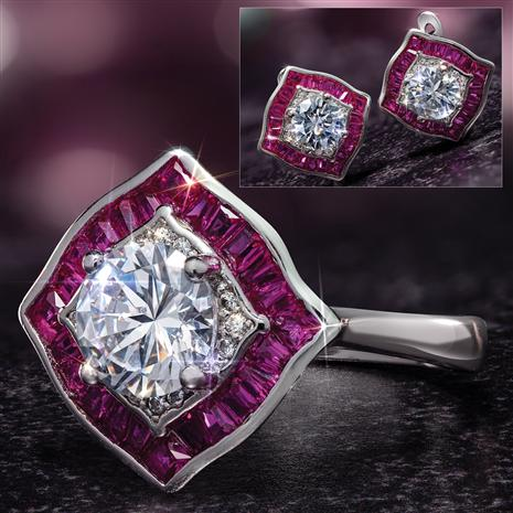 Scienza Ruby Romancing the Stones Ring and Earrings