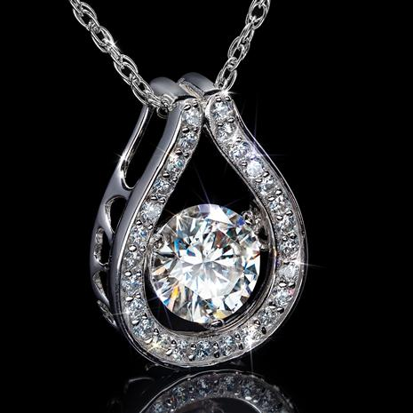 Moissanite Dancing Pendant & Chain