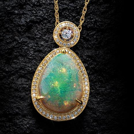 Arizona Desert Cultured Opal Pendant and Chain