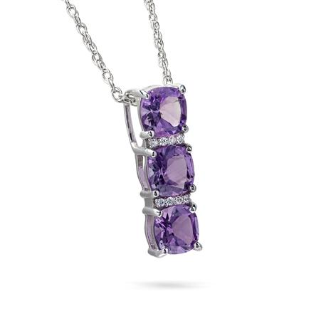 Royal Amethyst Three Stone Pendant