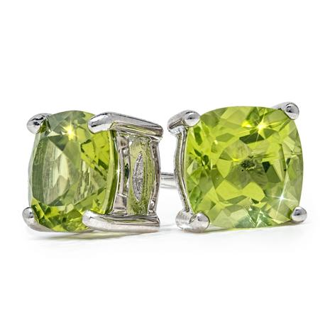 Cushion-Cut Peridot Stud Earrings