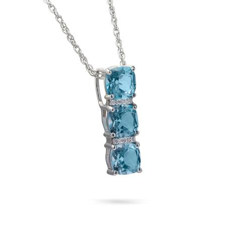 Sky Blue Topaz Three Stone Pendant