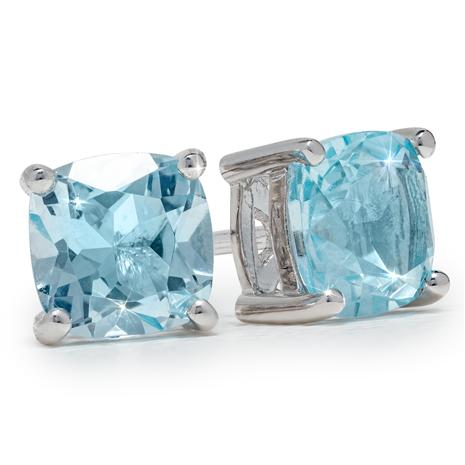 Cushion-Cut Blue Topaz Stud Earrings