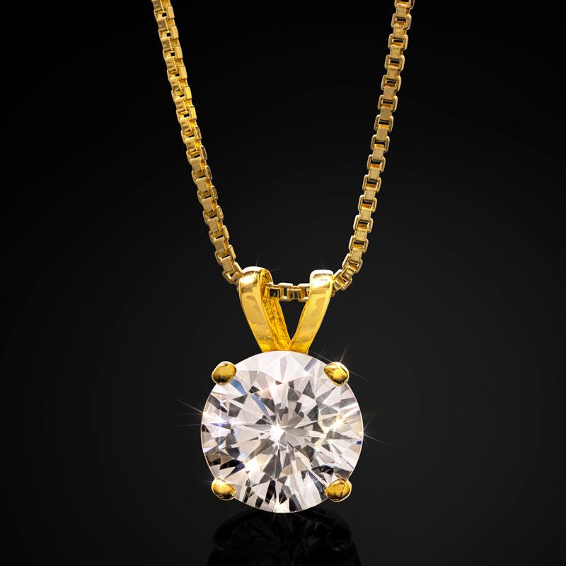 Gold-finished Solitaire DiamondAura Necklace