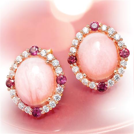 Peruvian Pink Opal & Rhodolite Earrings