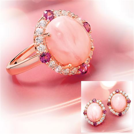 Peruvian Pink Opal & Rhodolite Ring & Earrings