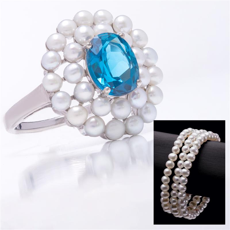 Indulgence London Blue Topaz Ring & Pearl Bracelet