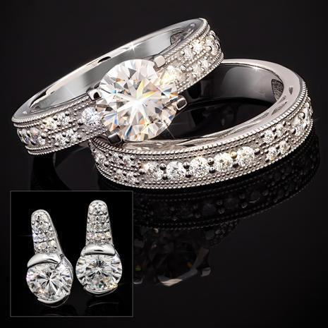 Dearly Beloved Moissanite Ring & Earrings