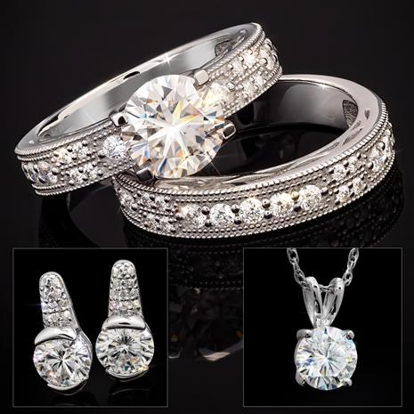Dearly Beloved Moissanite Rings, Earrings, Pendant & Chain