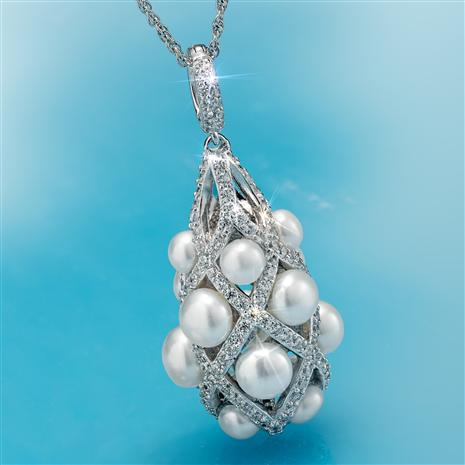 Rhodium Finished Lattice Cultured Pearl Pendant