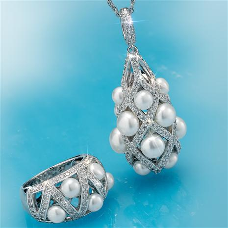 Rhodium Finished Lattice Cultured Pearl Collection