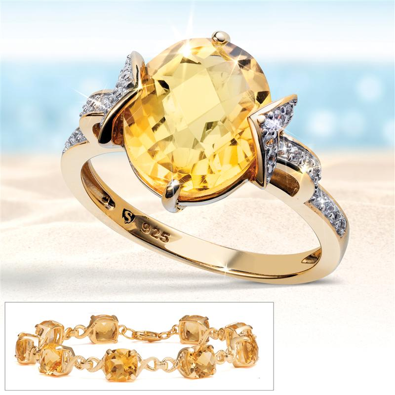 Gold-Finished Sterling Silver Citrine Ring and Bracelet
