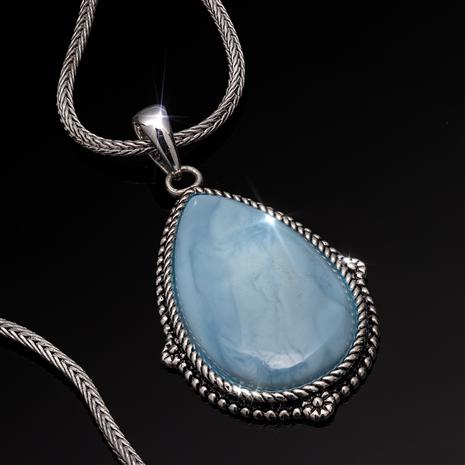 "Blue Opal Pendant  plus 18"" Naga Woven Sterling Silver Chain"