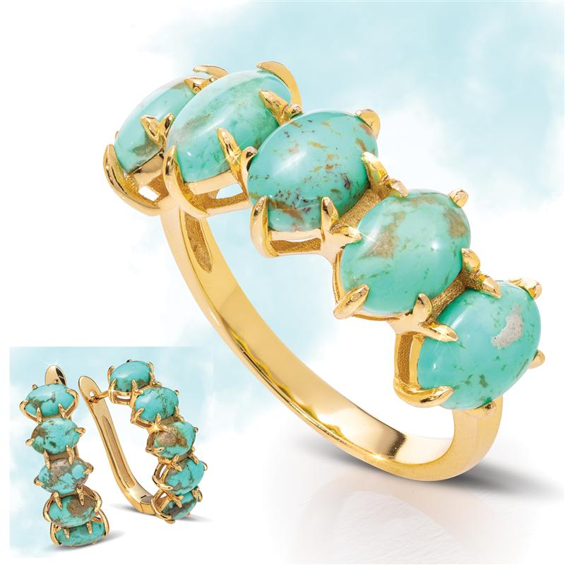 Kingman Turquoise Sovereignty Ring and Earrings