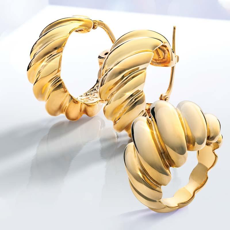 14K Italian Yellow Gold Sculpted Ring and Hoop Earrings