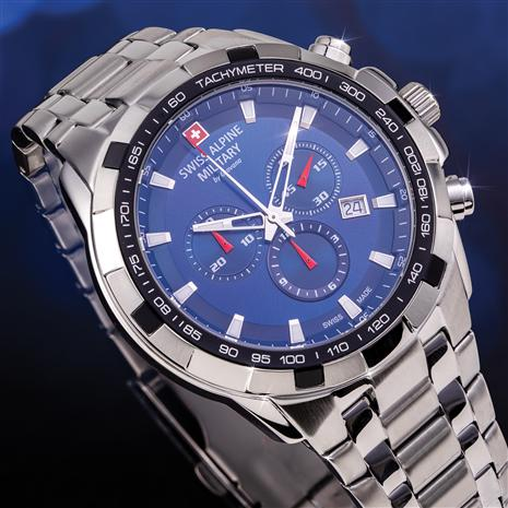 Swiss Alpine Military Chronograph (Blue Steel)