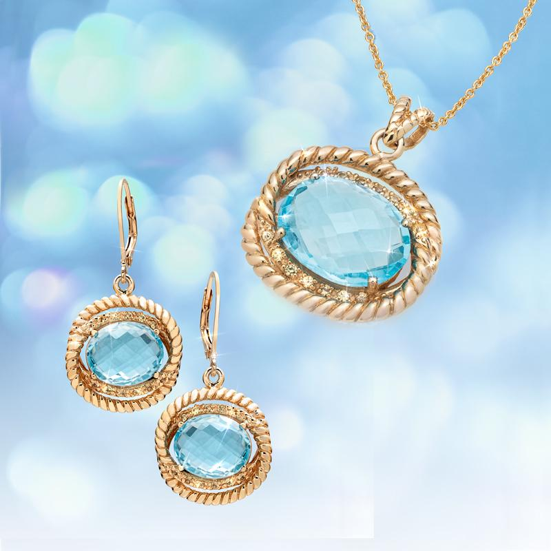 Blue Topaz & Yellow Sapphire Necklace and Earrings