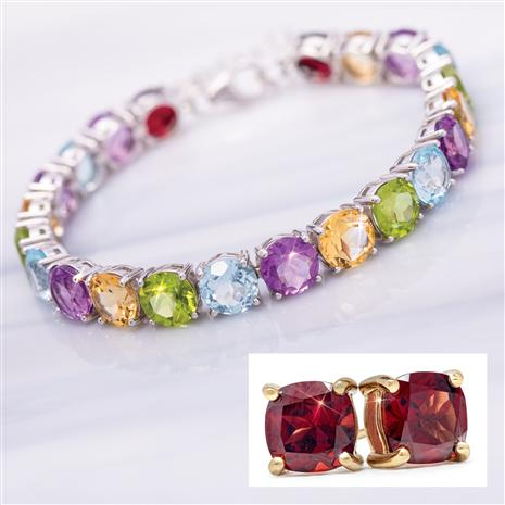 Tennis Bracelet and Cushion-Cut Stud Earrings (Garnet)