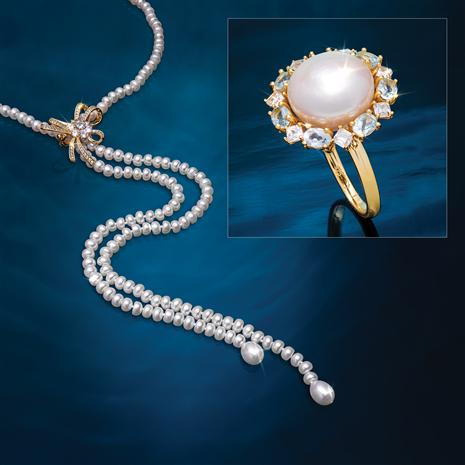Pearl Bolo Necklace & Moon & Sky Ring