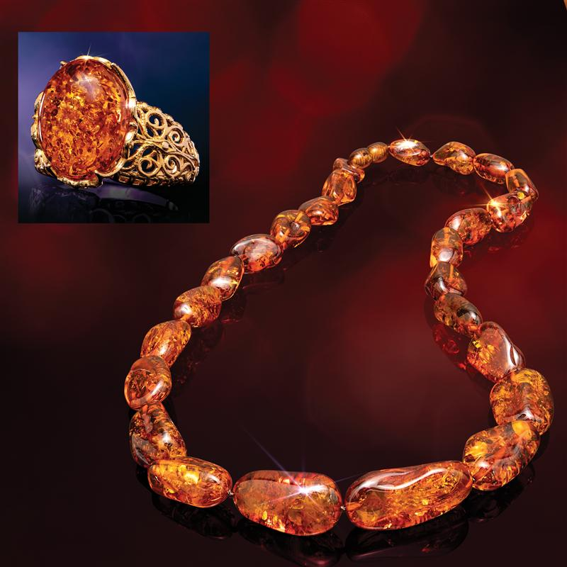 Honey Amber Necklace and Ring