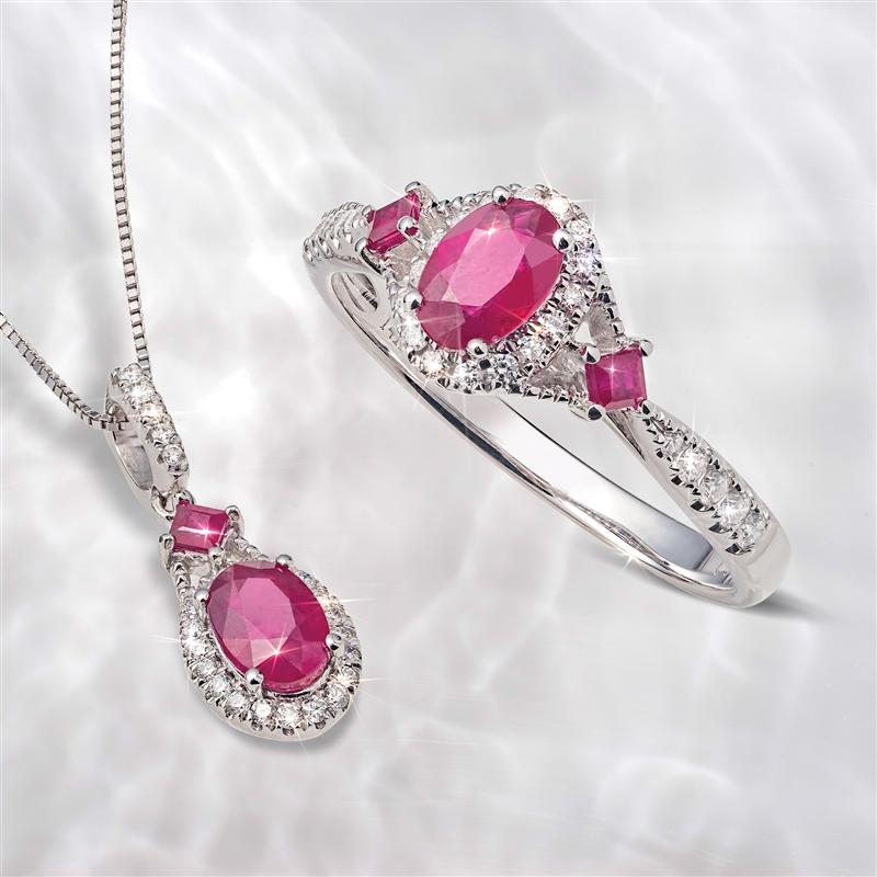 14K White Gold Ruby and Diamond Ring & Necklace Set